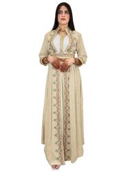 Ali Saif Chiffon Arabic Traditional Dress for Women, Small, Antique White