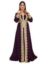 Ali Saif Arabic Traditional Dress for Women, Small, Dark Purple