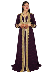 Ali Saif Long Sleeve Arabic Traditional Dress for Women, Extra Large, Dark Red
