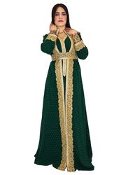 Ali Saif Long Sleeve Arabic Traditional Dress for Women, Extra Large, Dark Green