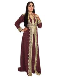 Ali Saif Chiffon V-Neck Long Sleeve Arabic Traditional Dress for Women, Small, Brown