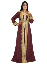 Ali Saif Long Sleeve Arabic Traditional Dress for Women, Extra Large, Saddle Brown