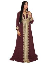 Ali Saif V-Neck Arabic Traditional Dress for Women, Small, Dark Red 02