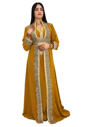 Ali Saif Chiffon V-Neck Long Sleeve Arabic Traditional Dress for Women, Small, Dark Golden Rod
