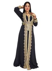 Ali Saif Chiffon V-Neck Long Sleeve Arabic Traditional Dress for Women, Small, Black