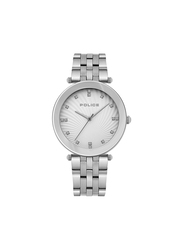 Police Montaria Analog Metal Watch for Women, Water Resistant, Silver, P 15569MS-04M