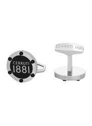 Cerruti 1881 Men's Cufflinks, Stainless Steel, with Brushed Finish Steel Plate, Silver/Black