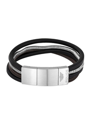 Police Bolgar Stainless Steel/Leather Multi-Strand Bracelet for Men, Silver/Brown