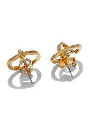 Cerruti 1881 Gold Plated Stainless Steel Stud Earrings for Women with Rhodium Beads, Gold