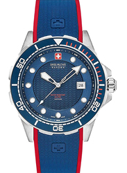 Swiss Military Hanowa Neptune Diver Analog Watch for Men with Silicone Band, Water Resistant, W S6-4315.04.003, Navy Blue