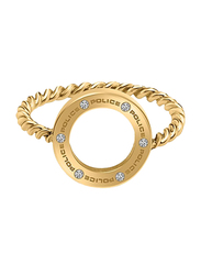 Police Fashion Ring for Women, Gold, EU 54