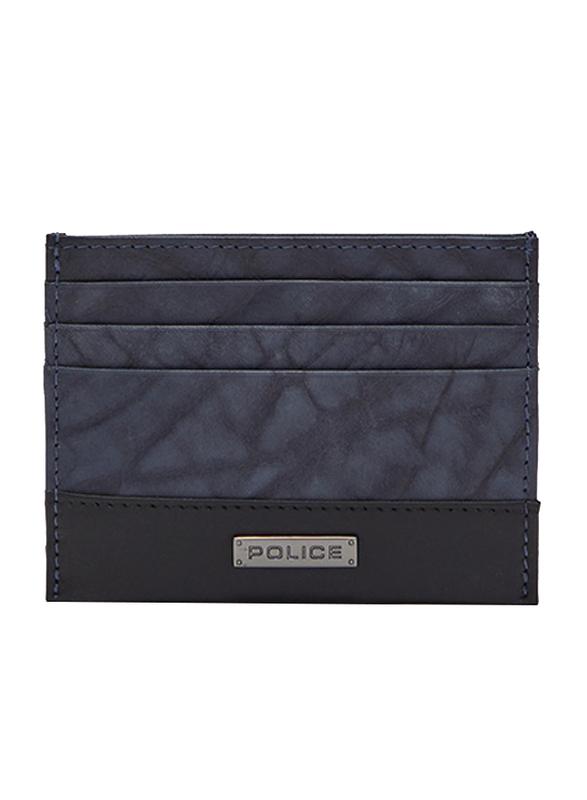 Police Tolerance Leather Card Case for Men, Blue