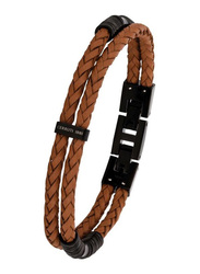 Cerruti 1881 Leather Ion Bracelet for Men, Gun Brown