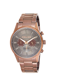 Police Kastrup Analog Stainless Steel Watch For Men, Water Resistant with Chronograph, Brown-Grey, P 15589JSBN-61M