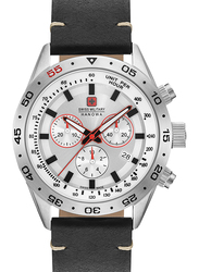 Swiss Military Hanowa Challenger Pro Analog Watch for Men with Leather Band, Water Resistant and Chronograph, W S6-4318.04.001, Black-White