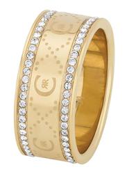 Cerruti 1881 Swarovski Stone Engagement Ring for Women, Gold, EU 54