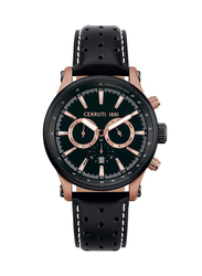 Cerruti 1881 Trignano Analog Leather Watch for Men, Water Resistant with Chronograph, Black-Brown, C CRWA25801