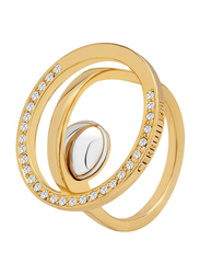 Cerruti 1881 Gold Plated Fashion Ring for Women with Rhodium Metal Bead Stone, Gold, EU 54