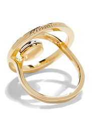 Cerruti 1881 Gold Plated Fashion Ring for Women with Rhodium Metal Bead Stone, Gold, EU 56