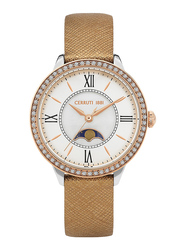 Cerruti 1881 Rosara Analog Watch for Women with Leather Band, Water Resistant, C CRWM225, Bronze-White