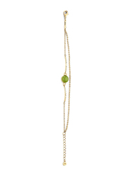 Cerruti 1881 Gold Plated Stainless Steel Chain Bracelet for Women with Opaque Green Stone, Gold