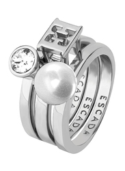Escada Pearl Stone Fashion Ring for Women, Rhodium, EU 56