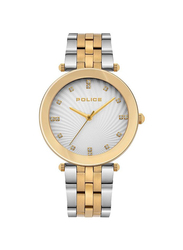 Police Montaria Analog Metal Watch for Women, Water Resistant, Silver/Gold-Silver, P 15569MSG-04MTG