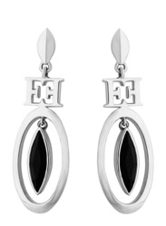 Escada Rhodium Drop & Dangle Earrings for Women with Black Stone Stone, Silver
