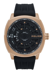 Police Speed Head Analog Watch for Men with Rubber Band, Water Resistant, P 15239JSR-02P, Black