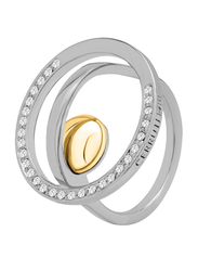 Cerruti 1881 Stainless Steel Fashion Ring for Women with Gold Plated Metal Bead Stone, Silver, EU 54