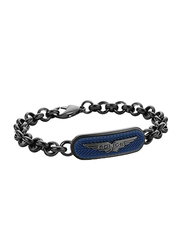Police Onset Silicon Chain Bracelet for Men, Gun Blue