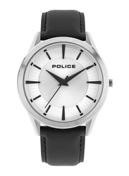 Police Patriot Analog Watch for Men with Leather Strap, Water Resistant, P 15967JS, Black-Silver