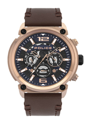 Police Armor Analog Watch for Men with Leather Band, Water Resistant and Chronograph, P 14378JSR-03, Brown-Blue