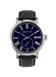 Cerruti 1881 Sarnonico Analog Leather Genuine Watch for Men, Water Resistant, Black-Blue, C CRWA25003