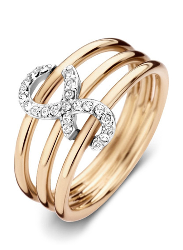 Cerruti 1881 Gold Plated Stainless Steel Stacking Ring for Women with Infinity Motif, Gold, EU 54