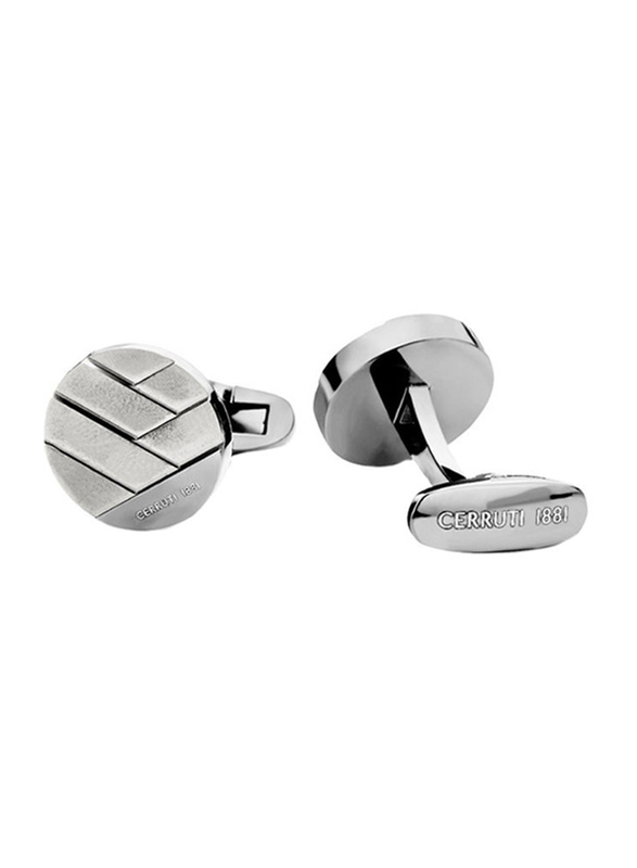 Cerruti 1881 Mens Cufflinks, Stainless Steel, with Polished and Brushed Finish Steel Plate, Silver