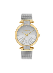 Police Alcanar Metal Watch for Women, Water Resistant, Silver, P 15567LSG-04MMS