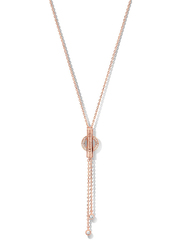 Cerruti 1881 Rose Gold Plated Stainless Steel Y Necklace for Women with Dangle and Diamond Stone, Rose Gold
