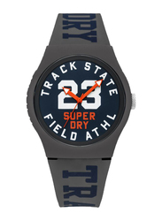 Superdry Urban Track & Field Analog Watch for Men with Silicone Strap, Water Resistant, T SDWSYG182UE, Grey-Navy Blue