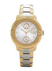 Versus Aymard Watch for Women with Stainless Steel Band, Water Resistant and Chronograph, V WVSPEQ0, Gold/Silver-White