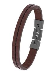 Cerruti 1881 Leather Ion Bracelet for Men, Gun Brown
