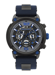 Police Armor Analog Watch for Men with Silicone Band, Water Resistant and Chronograph, P 14378JSU-13P, Blue-Black