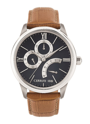 Cerruti 1881 Albiano Analog Watch for Men with Leather Band, Water Resistant with Chronograph, C CRWA26501, Brown-Blue