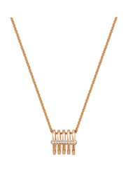 Cerruti 1881 Rose Gold Plated Stainless Steel Triple Chain Necklace for Women with Diamond Stone Vertical Pendant, Rose Gold