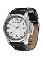 Police Lancer Analog Watch for Men with Leather Genuine Band, Water Resistant, P 12591JS-04, Black-Silver