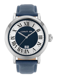 Cerruti 1881 Pinzolo Analog Watch for Men with Leather Band, Water Resistant, C CRWA22301, Blue-White