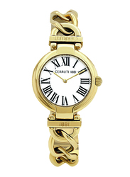 Cerruti 1881 Avola Analog Watch for Women with Stainless Steel Band, Water Resistant, C CRWM263, Gold-White