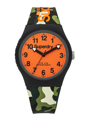 Superdry Urban Analog Watch for Men with Silicone Strap, Water Resistant, T SDWSYG164NO, Camouflage-Orange