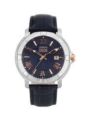 Cerruti 1881 Lungro Analog Leather Watch for Men, Water Resistant, Blue, C CRWA25702
