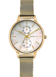 Gant Logan Analog Mesh Watch for Women, Water Resistant, Gold-White, G GWW071003